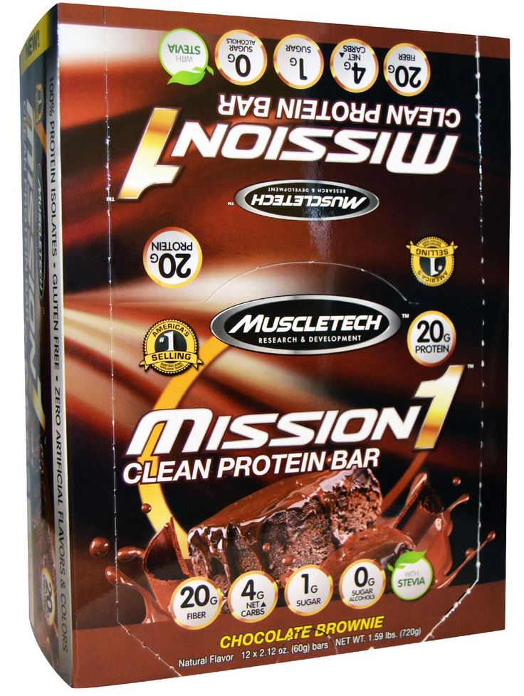 muscletech mission1 protein bars chocolate brownie
