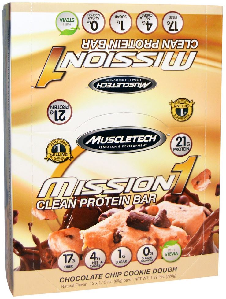 muscletech mission1 protein bars chocolate chip cookie dough