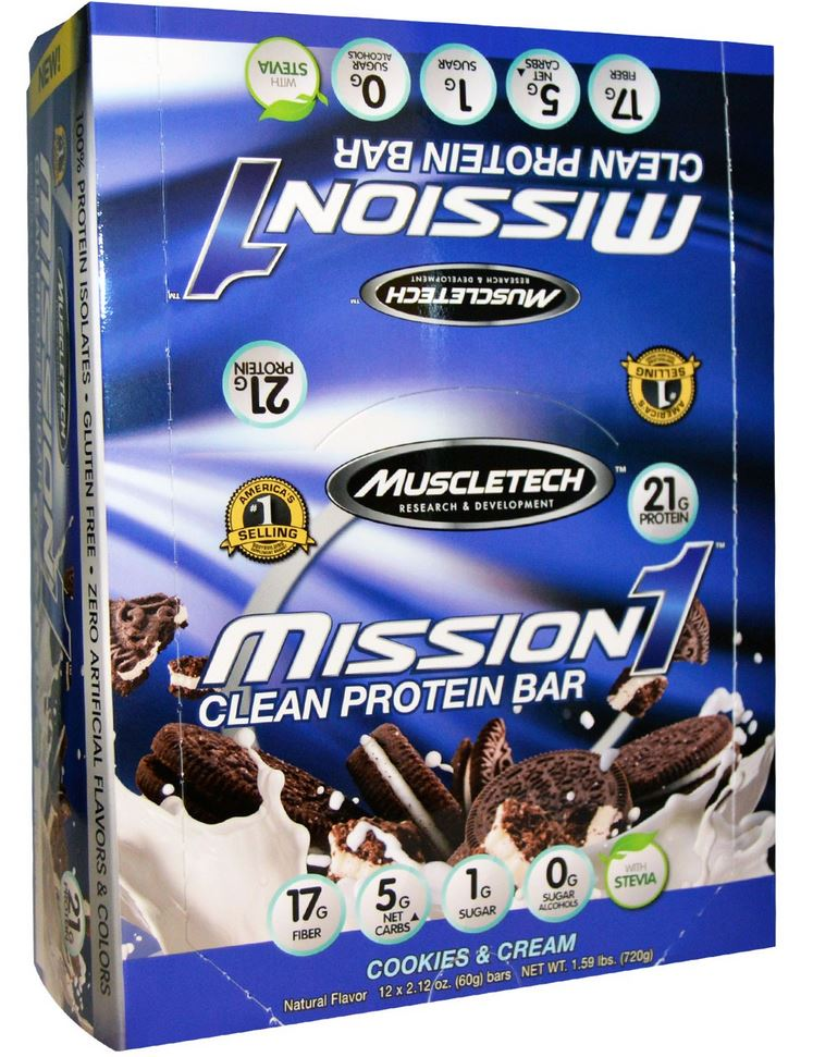 muscletech mission1 protein bars cookies and cream
