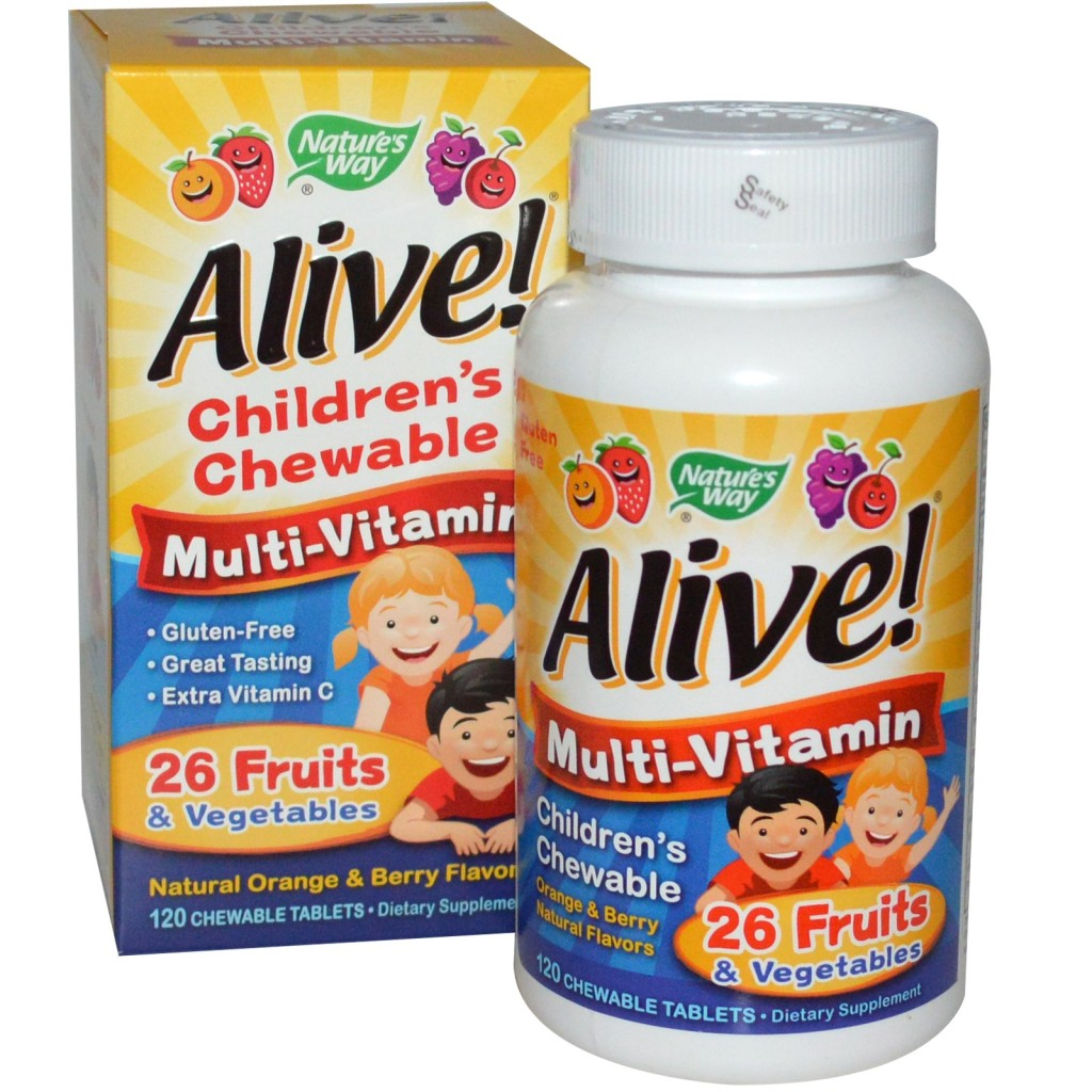 Natures Way, Alive Childrens Chewable Multi-Vitamin, Orange Berry 120 Chewable Tablets