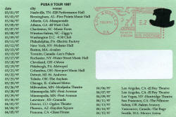 1997 - Tour - Postcard - The Presidents Of The USA (PUSA) concert dates