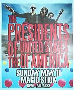 2008 - Poster - Presidents Of The USA / PUSA - Tour - Magic Stick, Detroit, MI 08