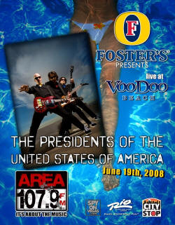 2008 - Tour Poster - Presidents Of The USA / PUSA - Las Vegas