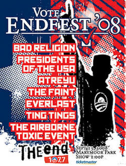 2008 Tour- The Presidents Of USA / PUSA at the End (Poster) with Everlast, Airborne toxic event