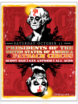 2008 Tour Poster -Presidents Of The USA / PUSA Scout Bar, San Antonio, Texas
