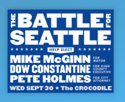 Mike McGinn for Mayor - The Battle For Seattle Fundraiser, Crocodile Cafe,  Seattle, WA