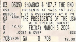 Poster / Ticket - PUSA / The Presidents Of The USA