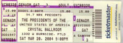 Ticket / Poster - PUSA / The Presidents Of The USA