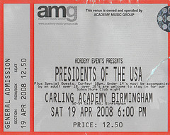 08 - Tour Ticket - Presidents OF the USA / PUSA