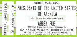 PUSA - Ticket - Tour - the abbey pub, chicago 2008
