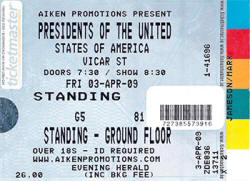 Poster / Ticket - Presidents Of The USA / PUSA