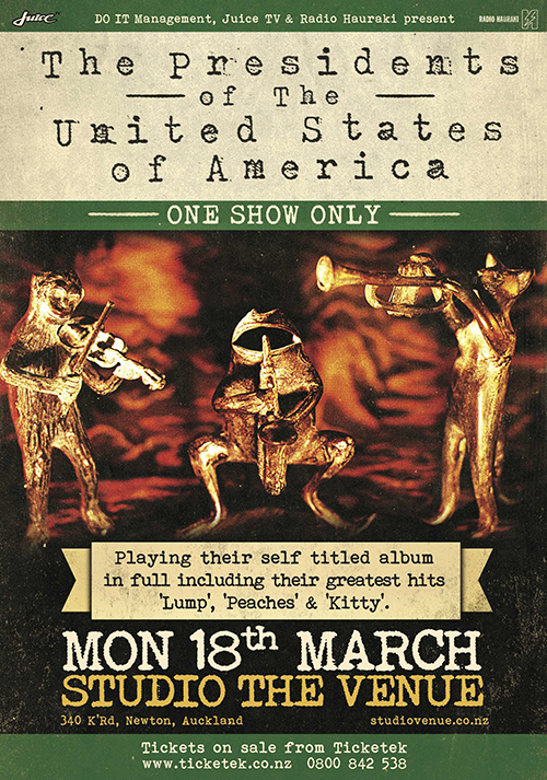 2013-03-18_Presidents_of_the_USA_Poster_Studio The Venue, Newton, Auckland, New Zealand